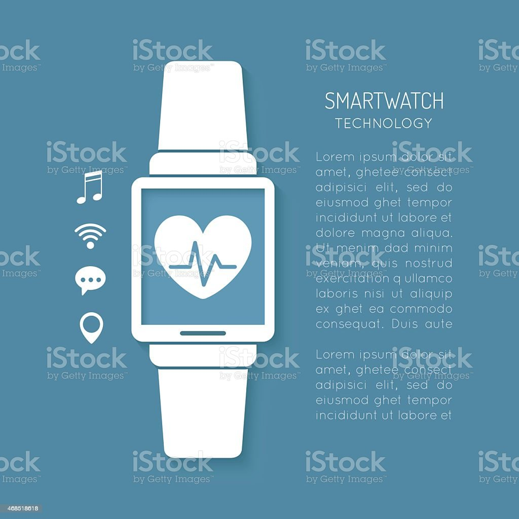 Wearable technology symbol with heartbeat tracker vector art illustration