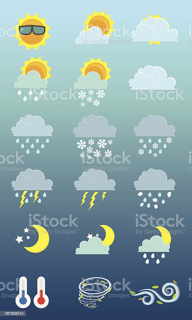 Weather 18 icons royalty-free stock vector art