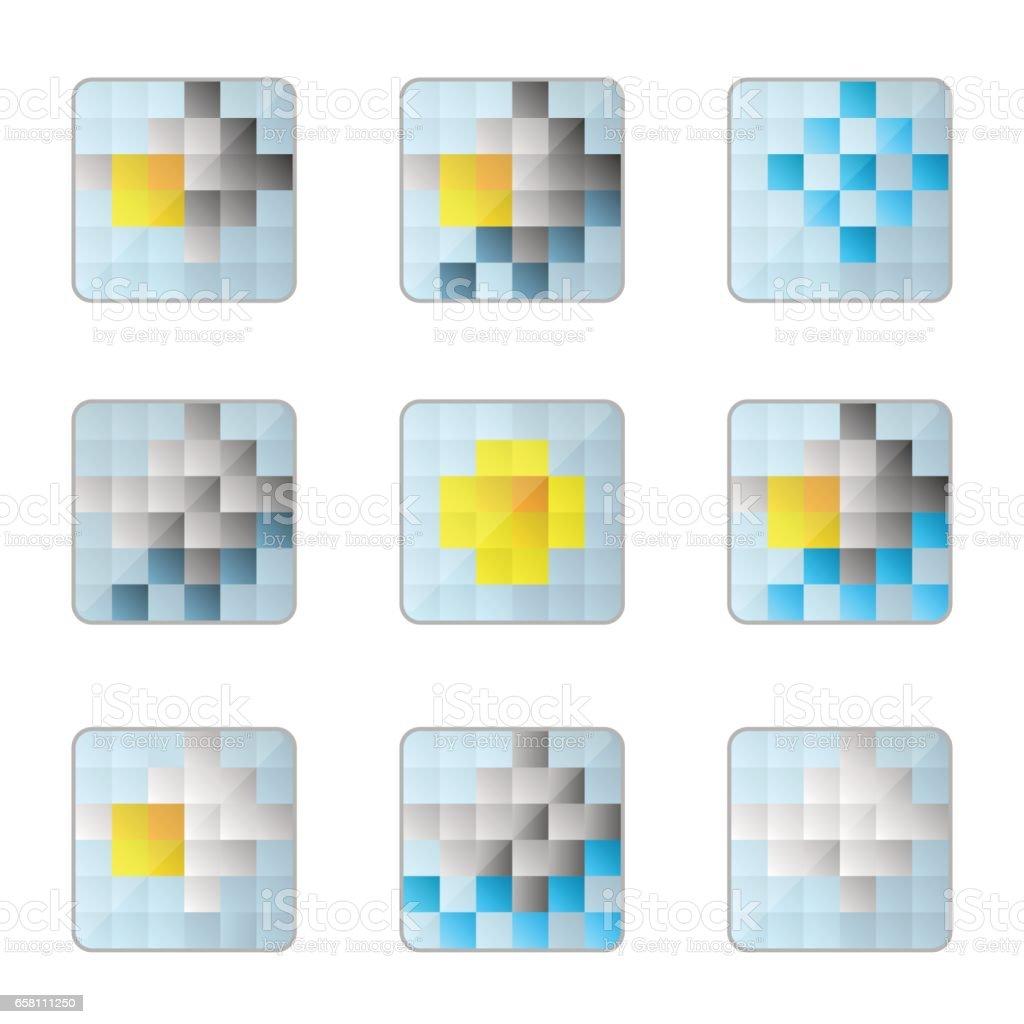 weather 8bit icons vector art illustration