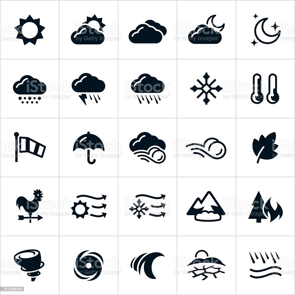 Weather and Natural Disaster Icons vector art illustration