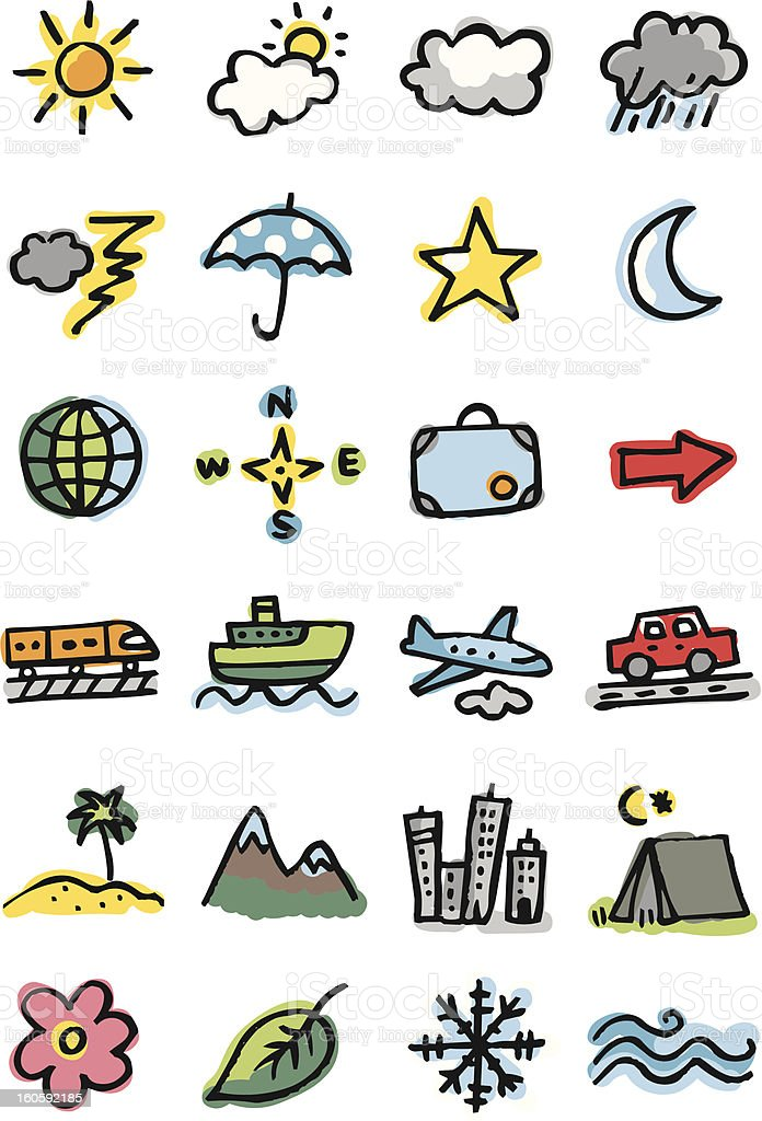 Weather and travel icons royalty-free stock photo