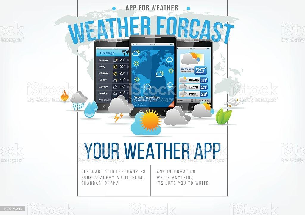 Weather app design page vector art illustration