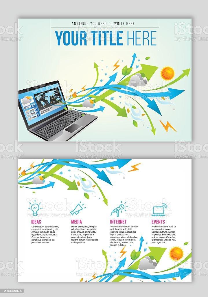 Weather app on computer flyer design vector art illustration