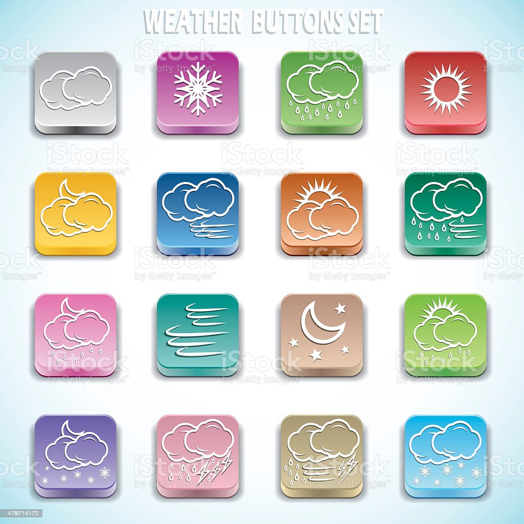 Weather buttons set stock photo