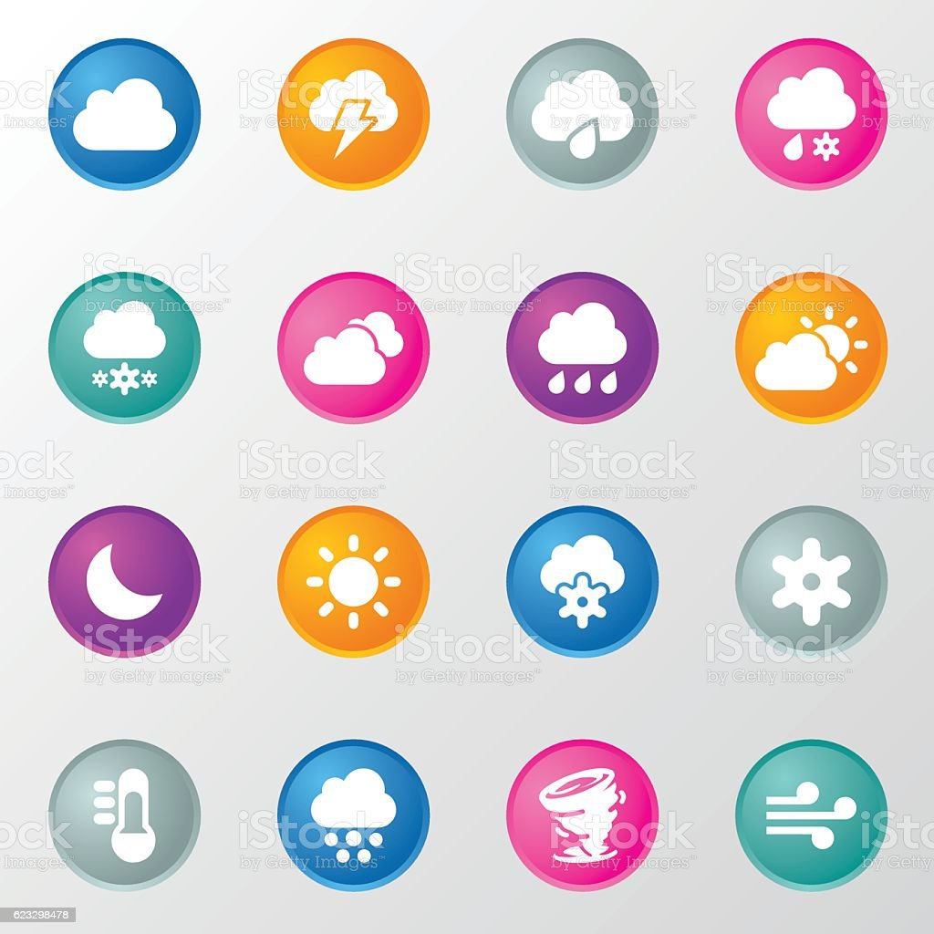 Weather Circle Color Icons vector art illustration