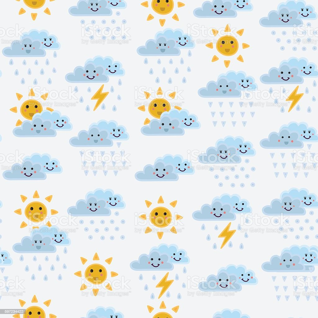 Weather concept background. Cartoon rainbow rainbow, cloud, sun vector art illustration