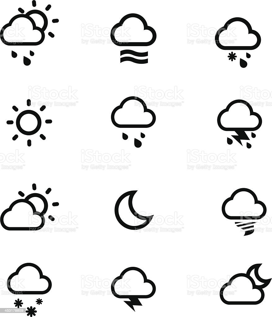 Weather conditions icons royalty-free stock vector art