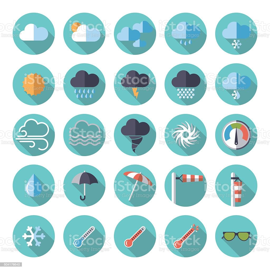 weather flat design icon set vector art illustration