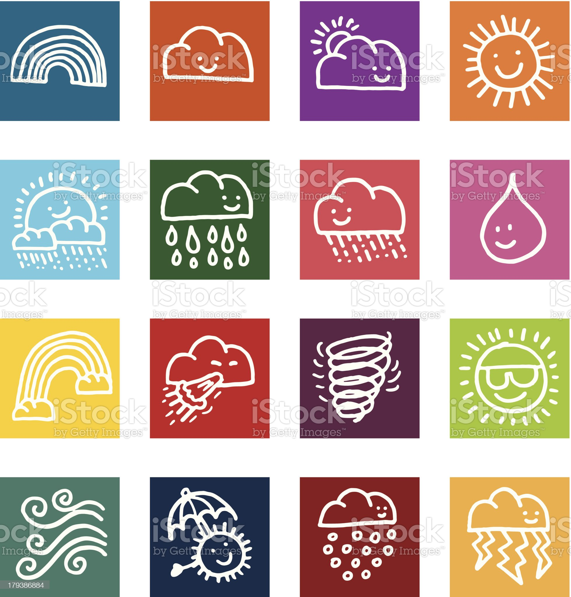 Weather flat icon set royalty-free stock vector art