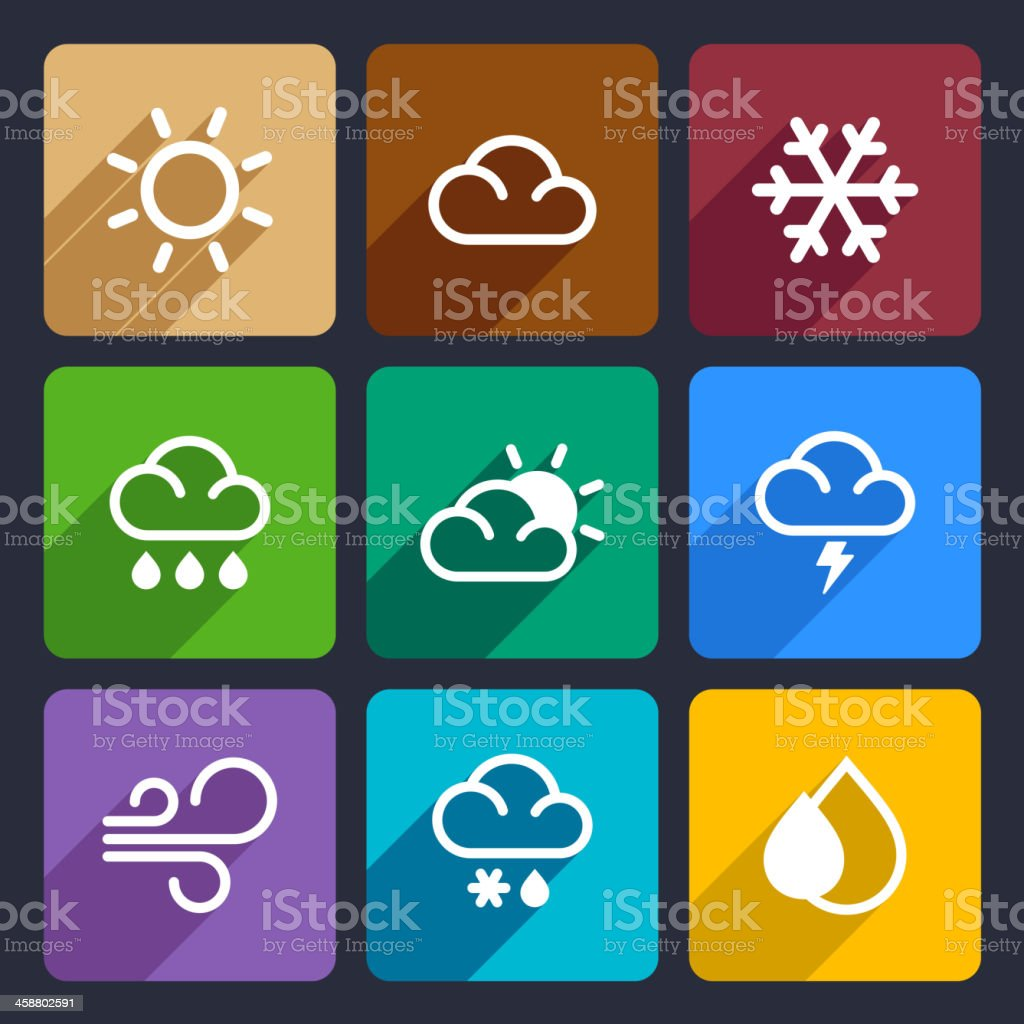 Weather flat icons set 27 royalty-free stock vector art