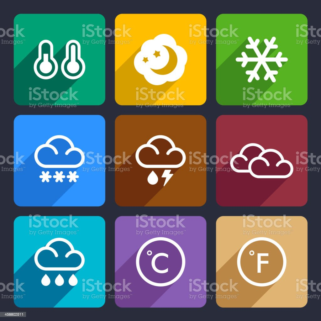 Weather flat icons set 28 royalty-free stock vector art