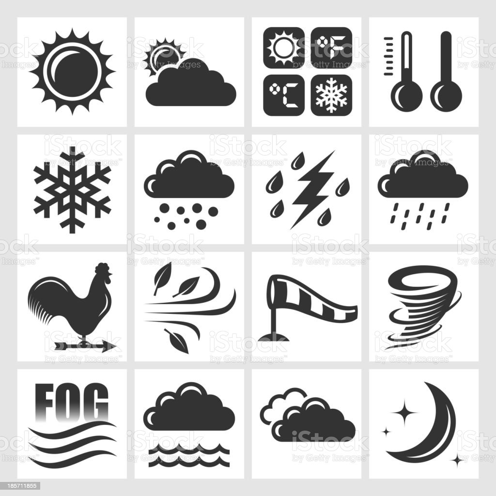 Weather Forecast black & white royalty free vector icon set vector art illustration