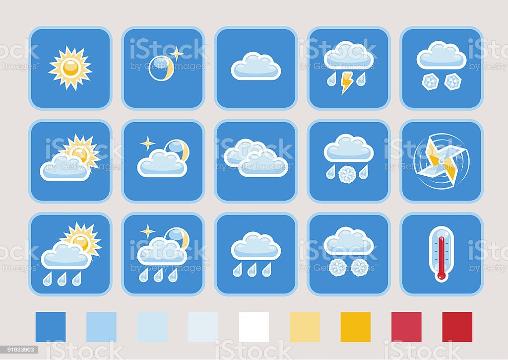 Weather forecast icon set royalty-free stock vector art