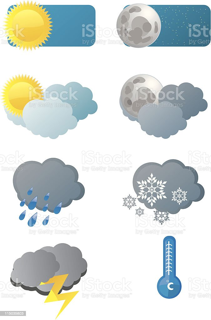 Weather forecast icons vector art illustration
