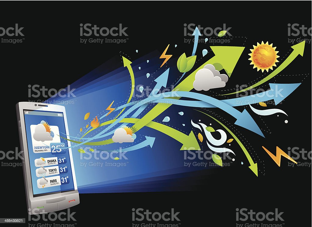 Weather forecast in smartphone royalty-free stock vector art