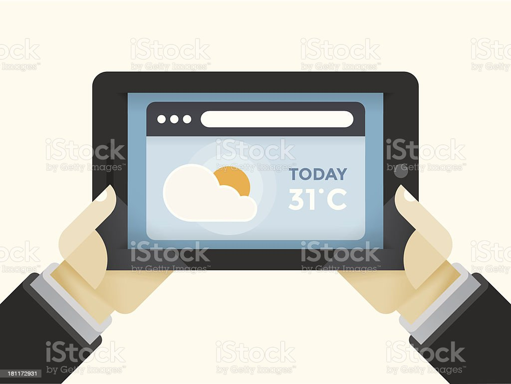 Weather forecast on the tablet computer royalty-free stock vector art