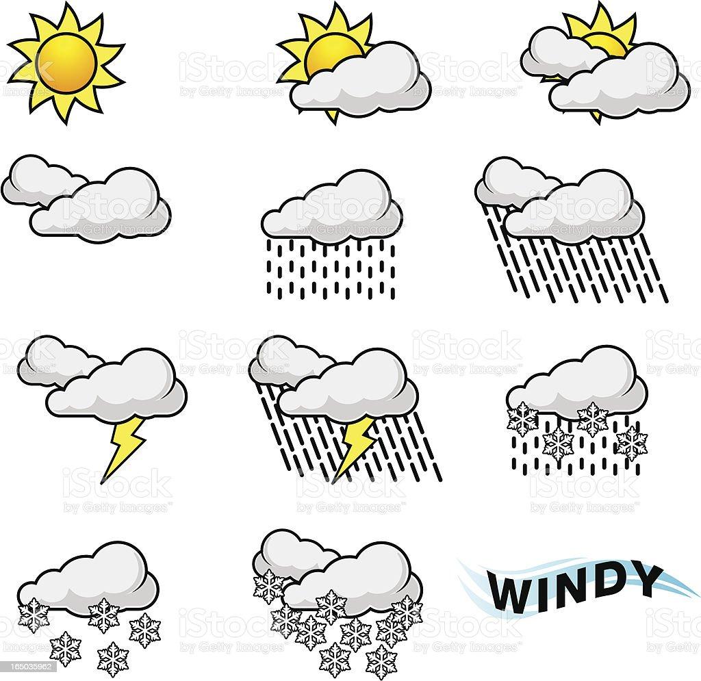 Weather Forecast Symbols (vector) vector art illustration