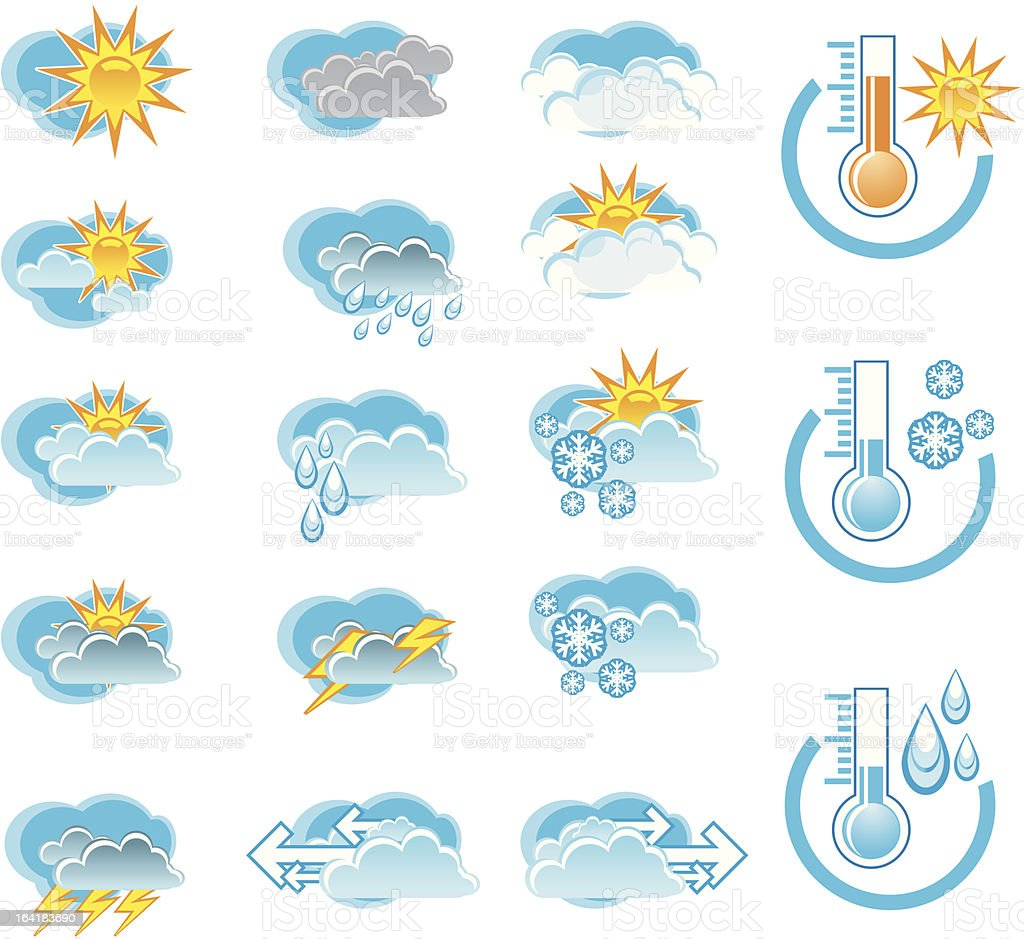 Weather Forecast vector icone set and Thermometers royalty-free stock vector art