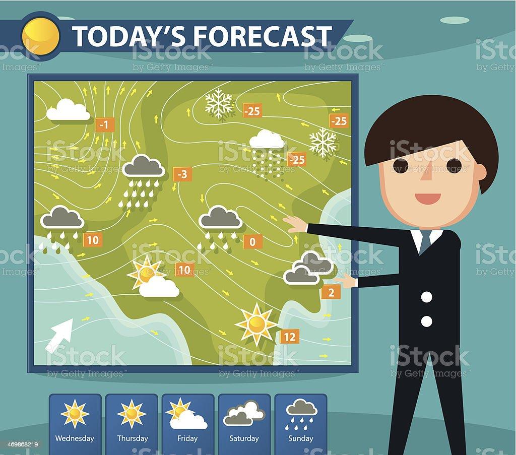 Weather forecaster vector art illustration