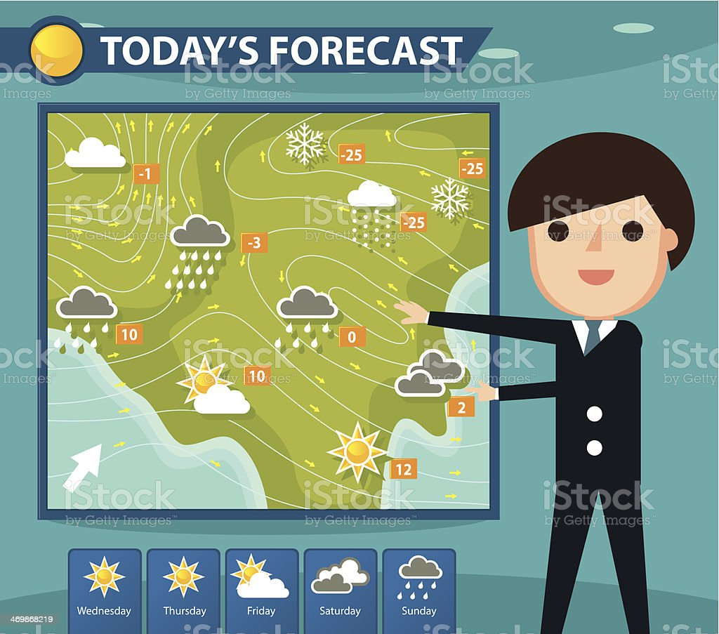 Weather forecaster vector art illustration
