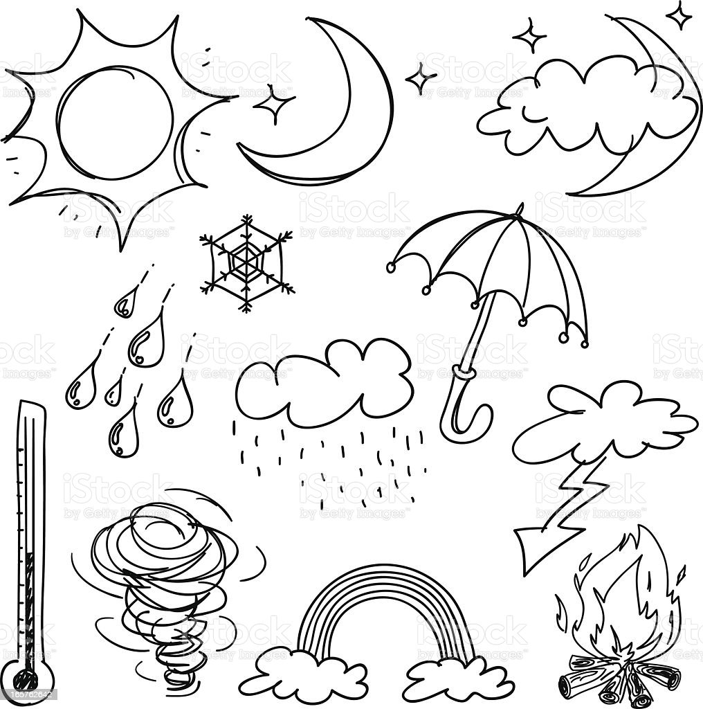 Weather icon collection in black and white royalty-free stock vector art
