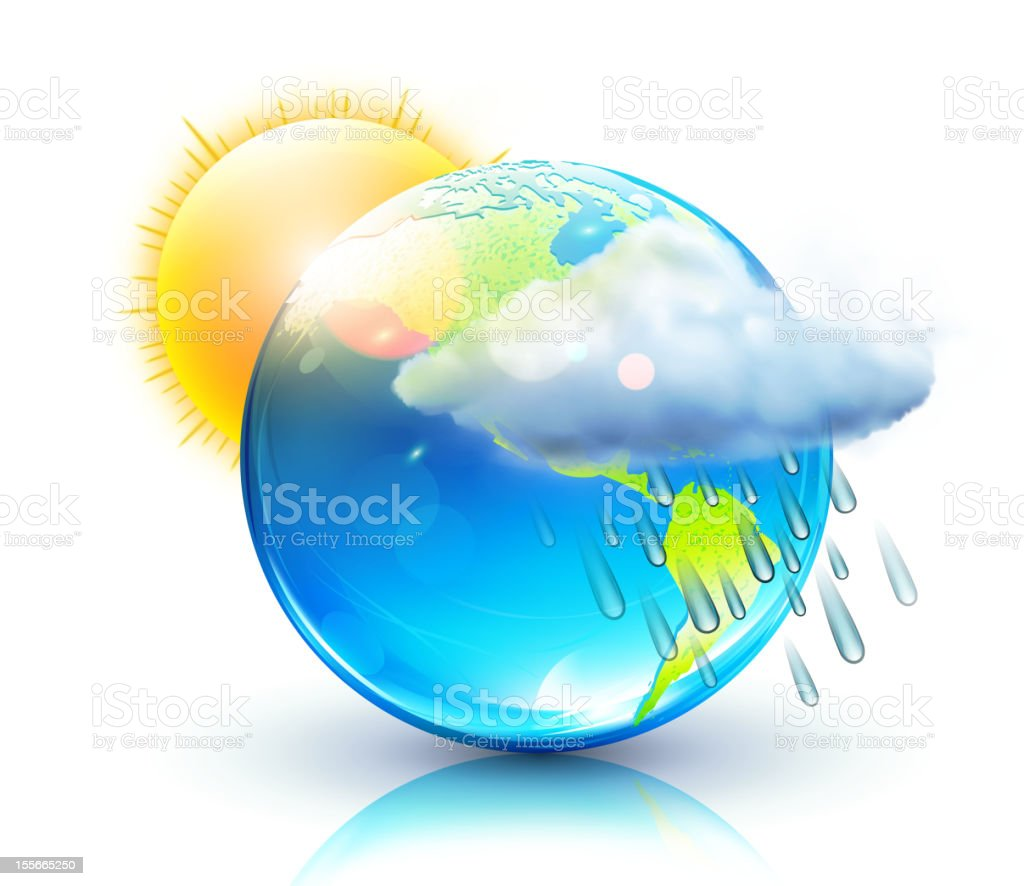 Weather icon for app featuring different weather vector art illustration