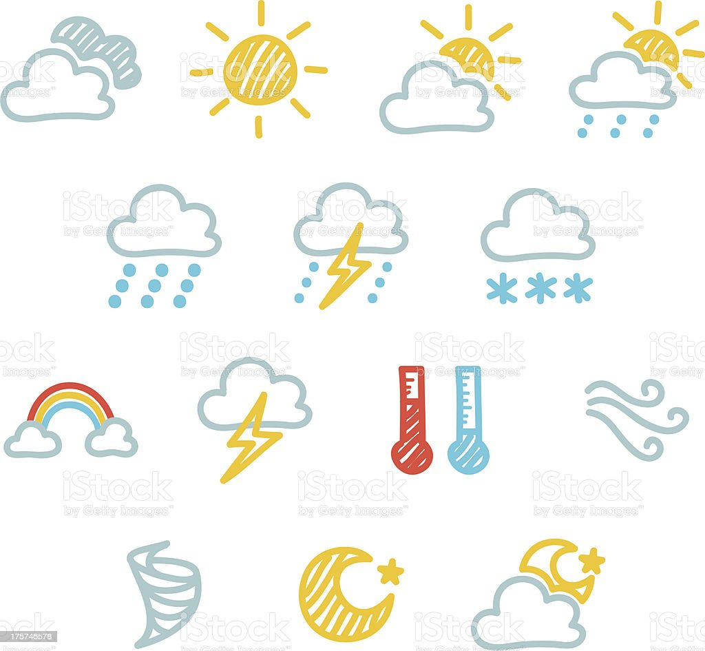 Weather Icon Set - Doodle royalty-free stock vector art