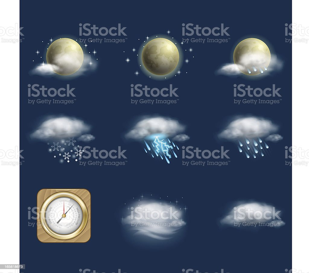 Weather Icon Set | Night royalty-free stock vector art