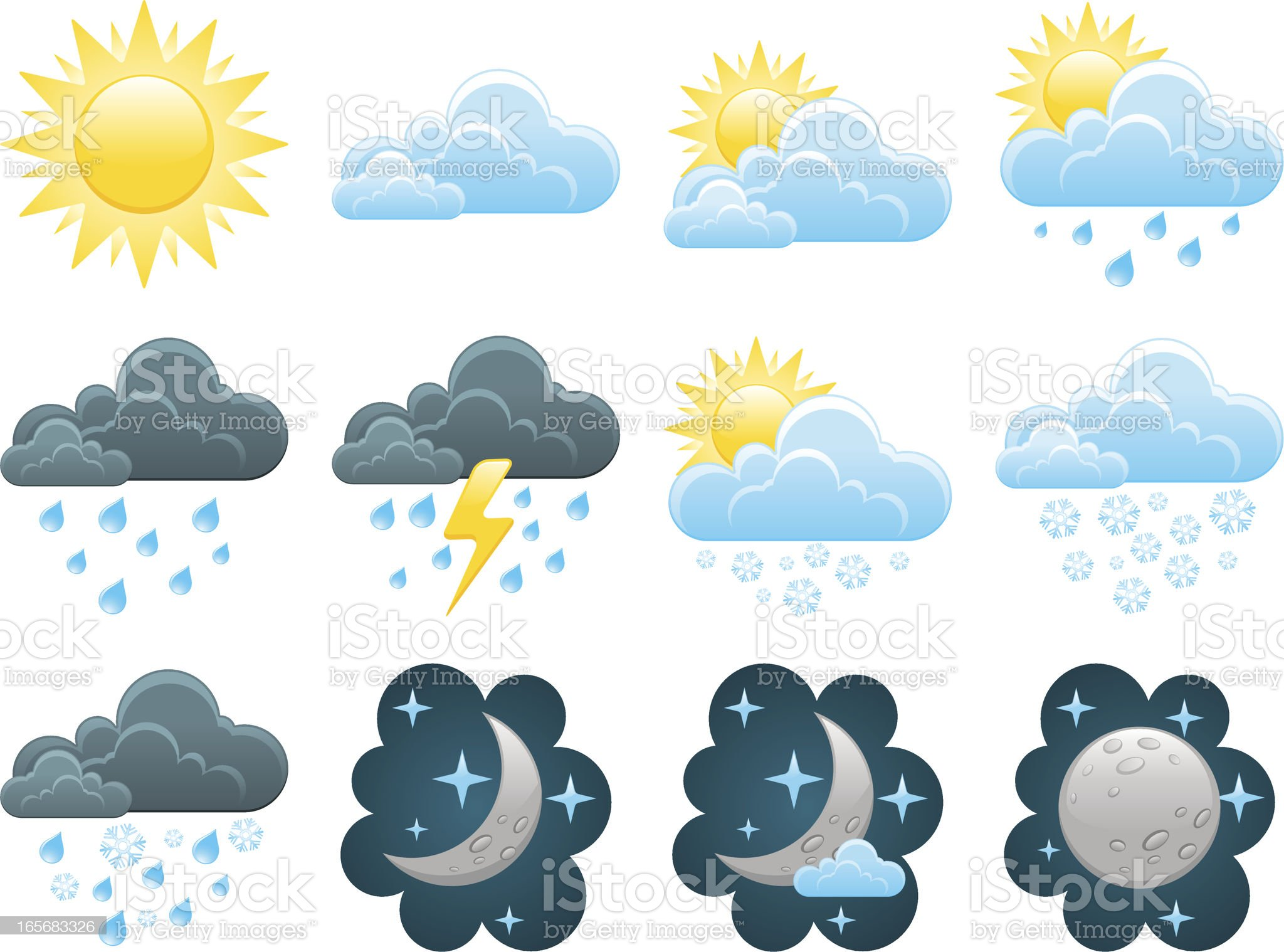 Weather icon set royalty-free stock vector art