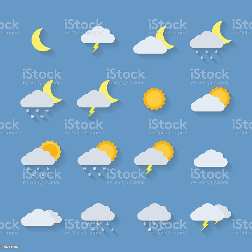Weather icon set. vector art illustration