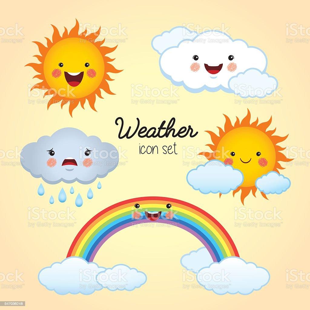 Weather icon set. vector art illustration