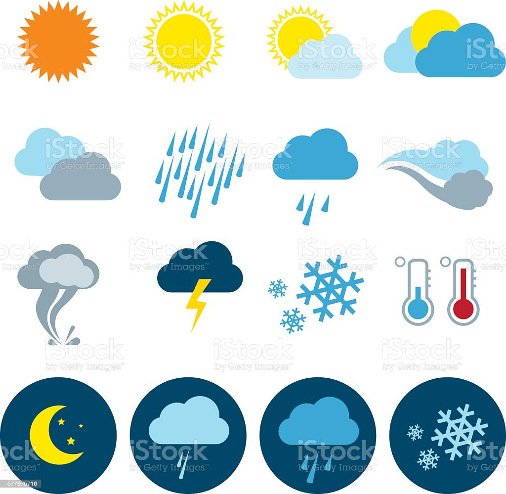 Weather Icon Set vector art illustration