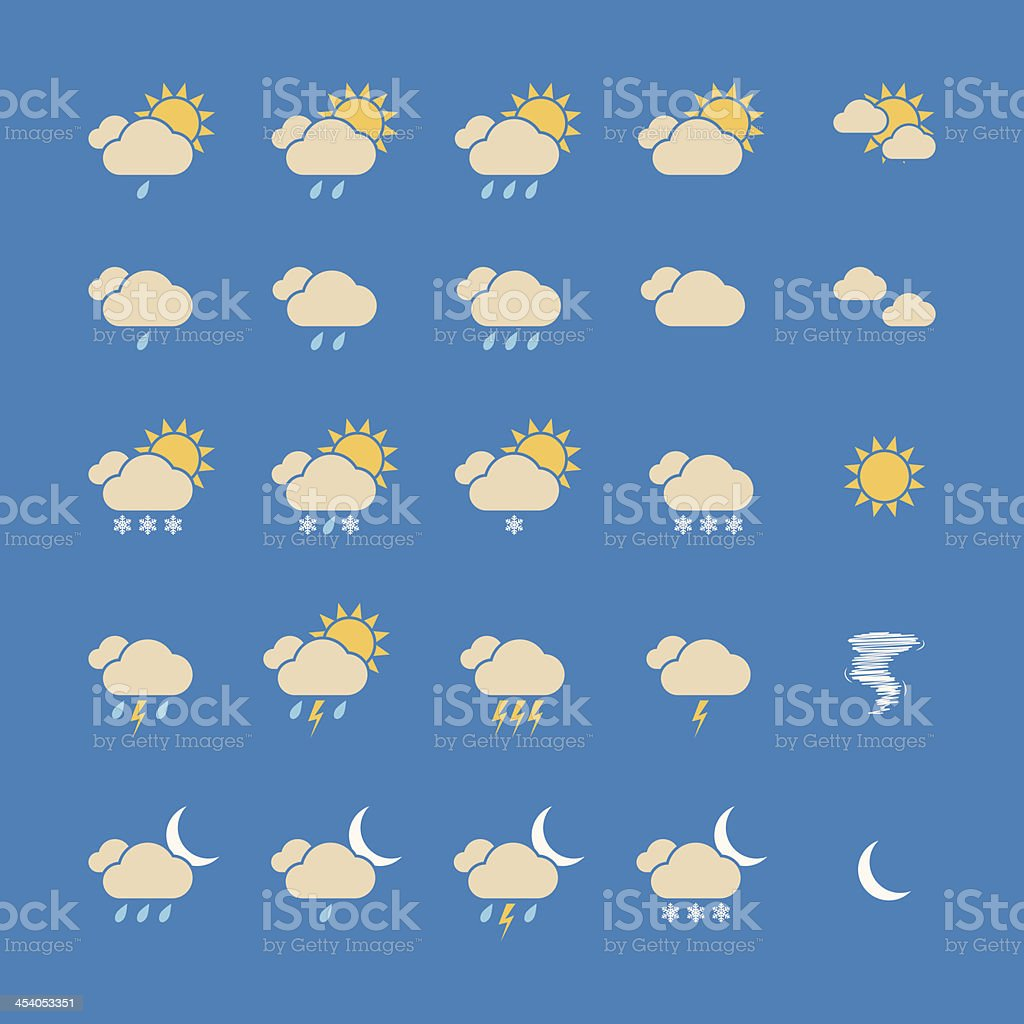 Weather Icon Set. Vector royalty-free stock vector art