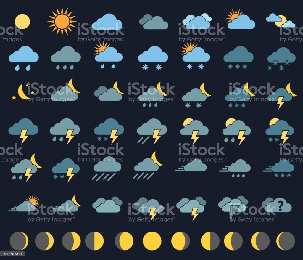 weather icons and signs vector art illustration