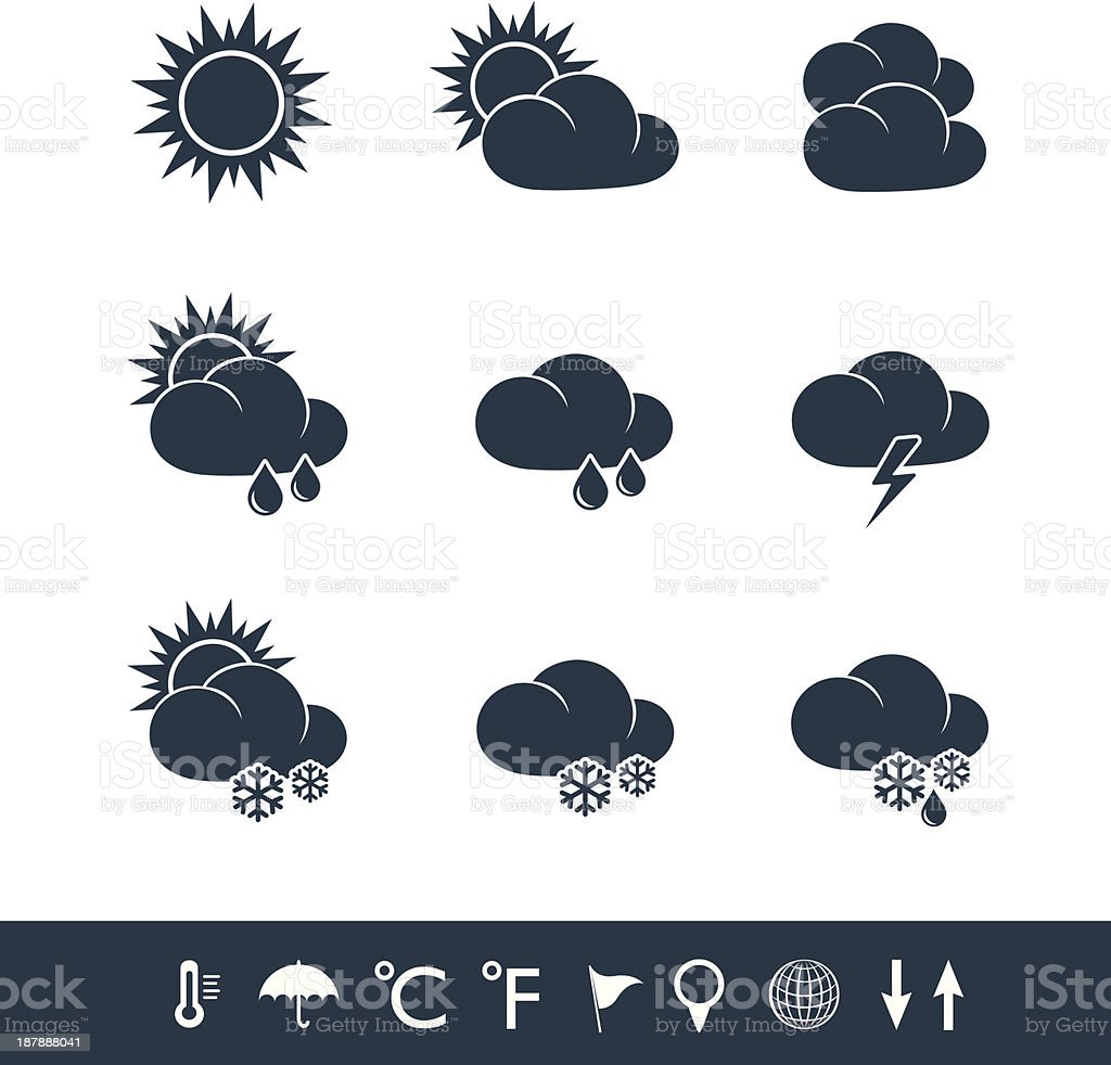 Weather icons black and white royalty-free stock vector art