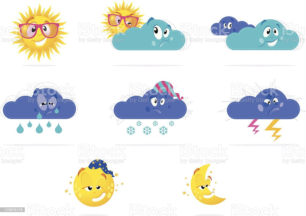 Weather icons - characters royalty-free stock vector art