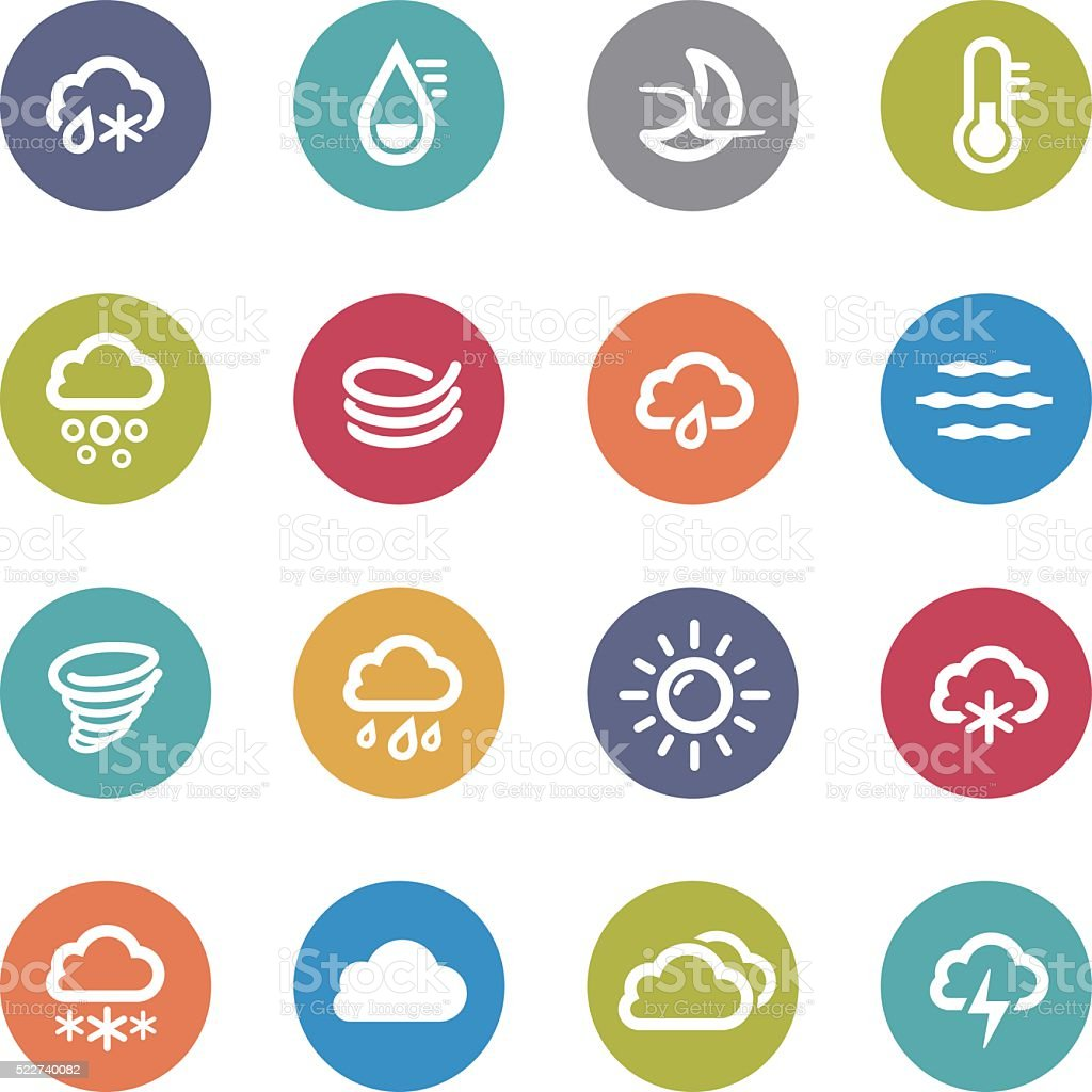 Weather Icons - Circle Series vector art illustration