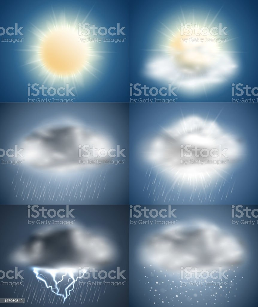Weather icons collection (day) vector art illustration