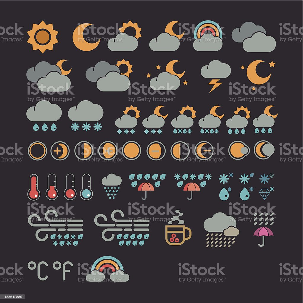 Weather icons collection royalty-free stock vector art