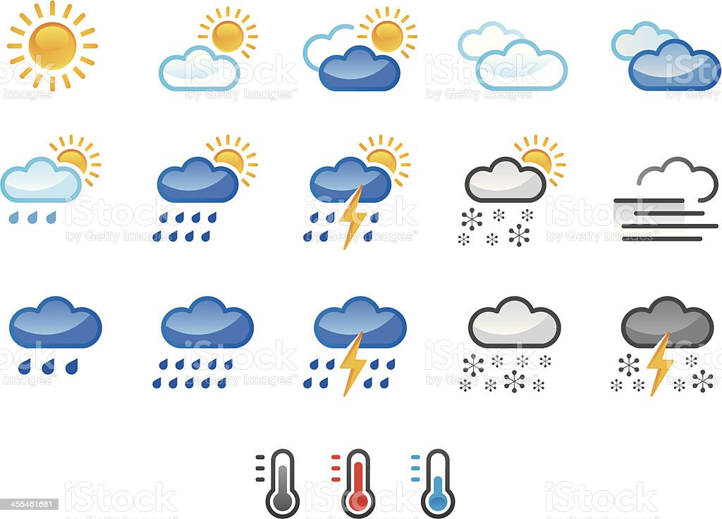 weather icons colour royalty-free stock vector art
