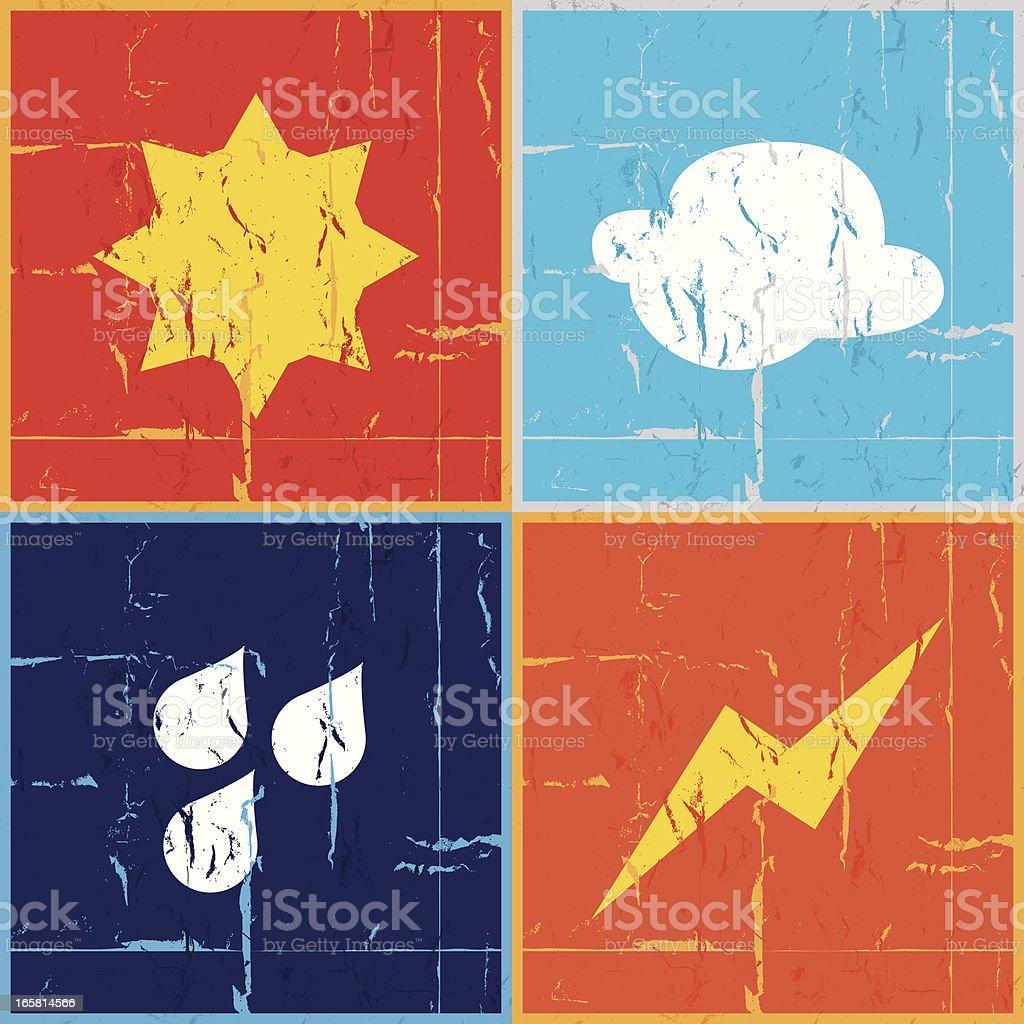 Weather icons grunge royalty-free stock vector art