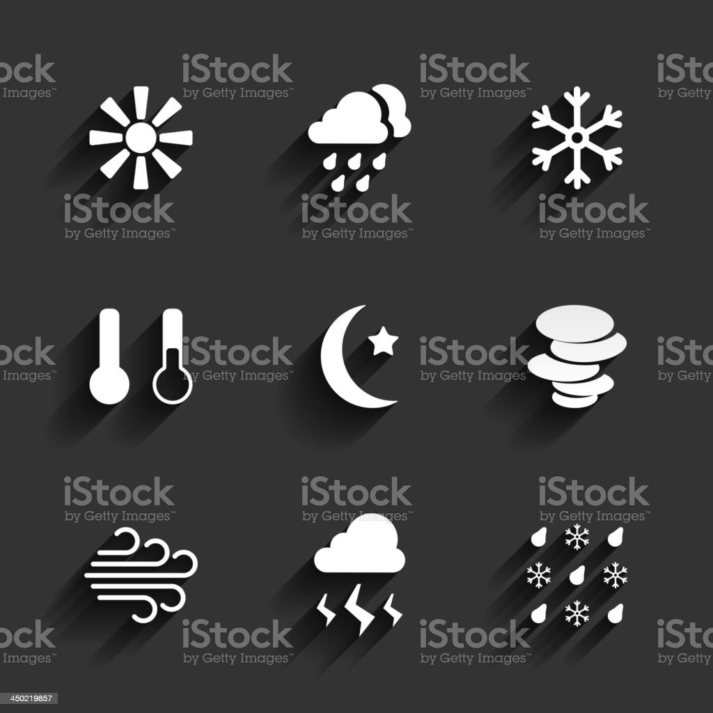 Weather icons in Flat Design Style royalty-free stock vector art