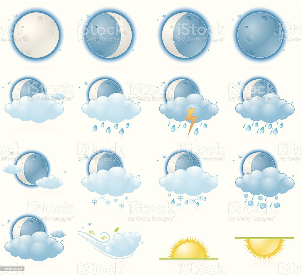 Weather icons, night forecast royalty-free stock vector art