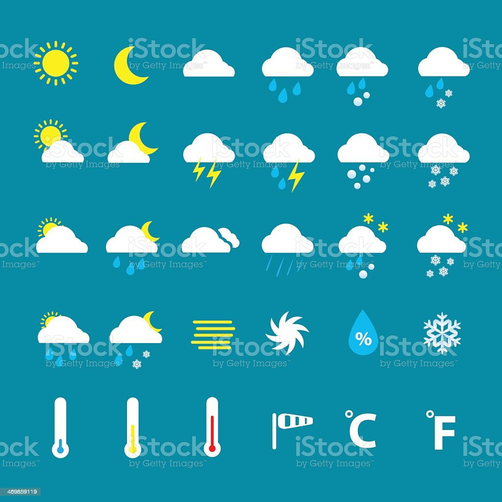 Weather icons on blue background vector art illustration