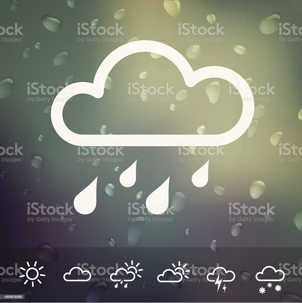 Weather Icons on blurred Water drops background vector art illustration