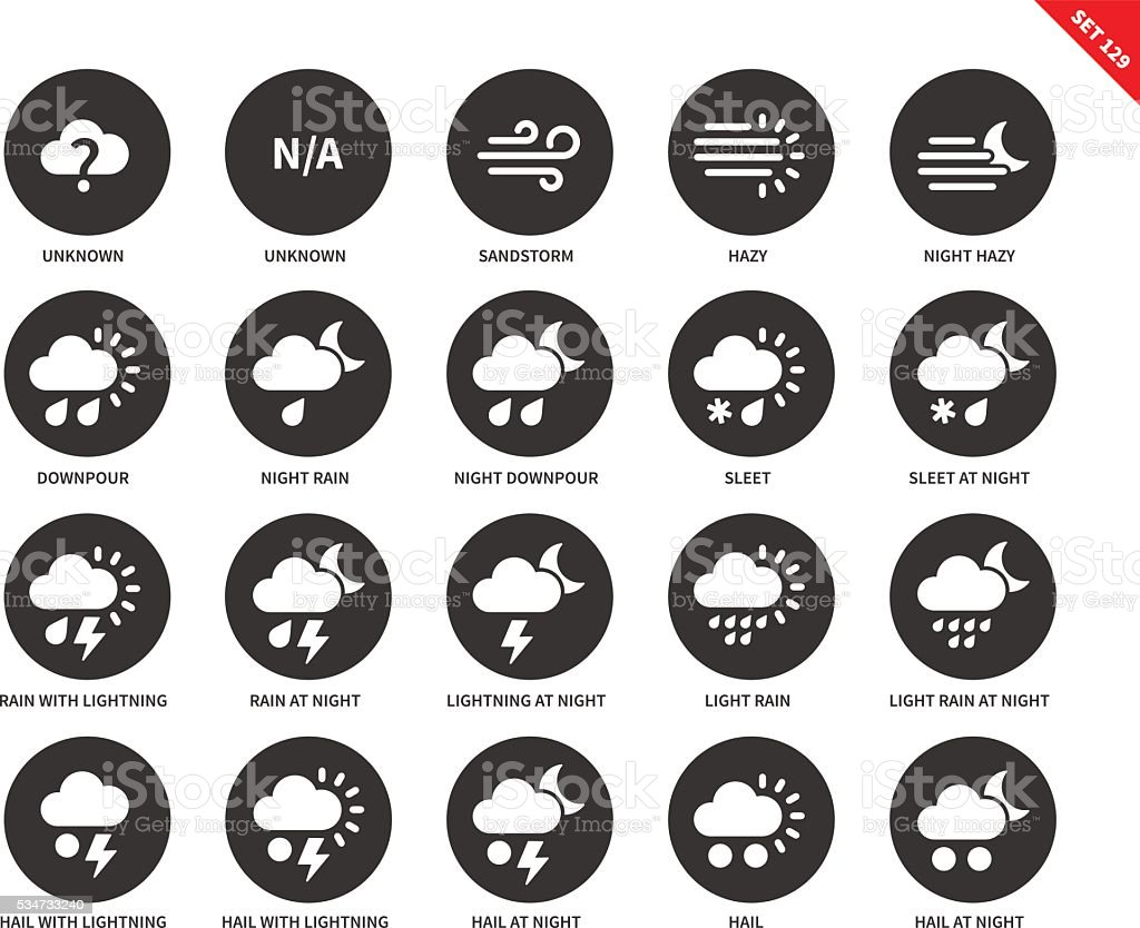 Weather icons on white background vector art illustration
