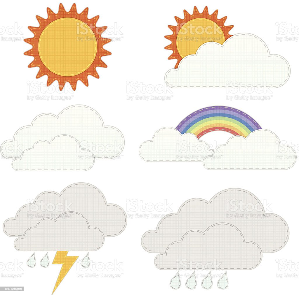 weather icons, recycle fabric craft style. royalty-free stock vector art