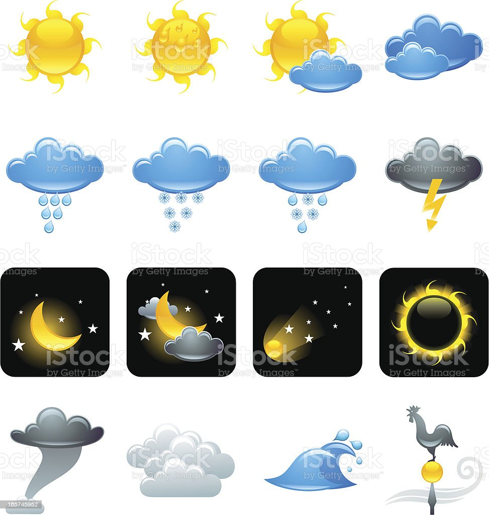 weather icons set 1 vector art illustration