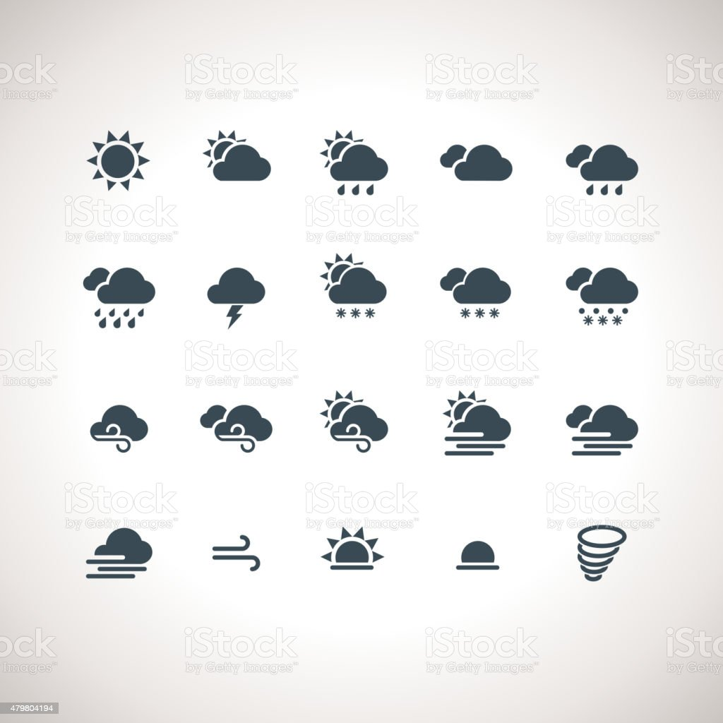 Weather Icons Set for web and mobile applications vector art illustration