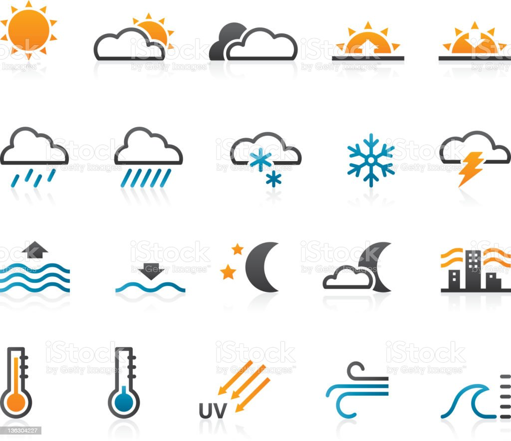 Weather icons - Set of 20 vector art illustration